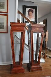 Only One - Maitland Smith Tooled Leather Glass Display Pedestals Stunning