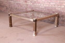 Mastercraft Mid-century Modern Hollywood Regency Brass And Glass Cocktail Table