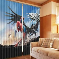 Spiderman Vs Monster 3d Blockout Photo Print Curtain Fabric Curtains Window