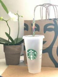 24 Pack Of Starbucks Reusable Frosted Cold Cup Tumbler 24 Oz With Rainbow Strew