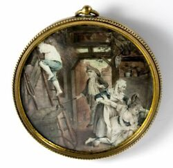 Rare Antique Portrait Miniature French Painting Lost Virtue C1800 Naughty