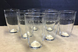 7 Vintage Libbey Hand Blown Etched Dots Banded Juice Tumbler Drinking Glasses