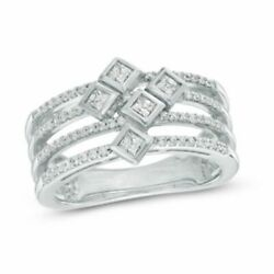 3/8 Ct Square Princess-cut And Round Real Diamond Orbit Ring In 10k White Gold