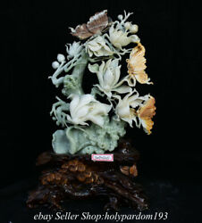 18.8 Chinese Xiu Jade Carving Fengshui Magnolia Denudata Butterfly Statue