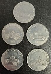 Lot Of 5 Different Franklin Mint Antique Car Tokens Series 1 And 2 - Enn Coins Se