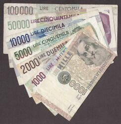 Italy Banknote - 1000 2000 5000 10000 50000 100000 - Lot Of 7 Different - Old