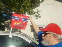 2 Mlbst. Louis Cardinals Window Mounted Red Car Flag - 2 Sided Nwt 21 X 15