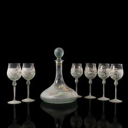 Vintage Wine Serving Set, European, Art Glass, Decanter, Hand Painted, Late 20th