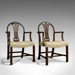 Pair Of Antique Hepplewhite Revival Carvers Mahogany Arm Chair Victorian