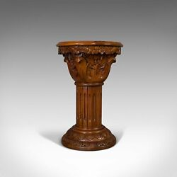 Vintage Torchere Stand Oriental Mahogany Marble Jardiniere Lamp Table