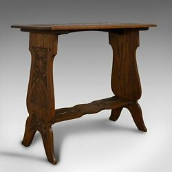 Antique Carved Side Table Italian Oak Occasional Lamp Edwardian Circa 1910
