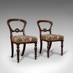 Pair Of Antique Buckle Back Chairs English Walnut Dining Side Victorian