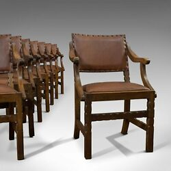 Set Of 8, Antique Dining Chairs, Oak, Seat, Arts And Crafts, Hamptons, Edwardian
