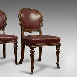 Pair Of Antique Chairs Walnut Leather Seat Doveston Bird And Hull Victorian