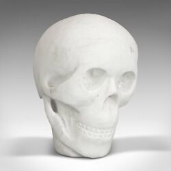 Vintage Decorative Skull, English, White Marble, Desk, Ornament, Paperweight