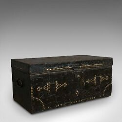Antique Merchantand039s Trunk English Metal Bound Ebonised Tool Chest Victorian