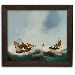 Large, Dramatic Seascape, Oil Painting, Marine, Ships, Storm, 29 X 25