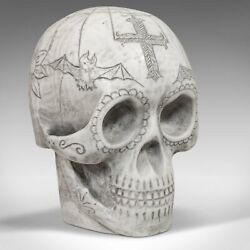 Vintage Hand Decorated Skull English Marble Ornament Paperweight D. Hurley