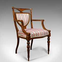 Antique Elbow Chair, Rosewood, English Open Armchair, Maple And Co. Circa 1910