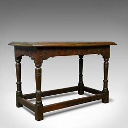 Antique Oak Console Table, English, Jacobean Revival, Refectory, C18th And Later