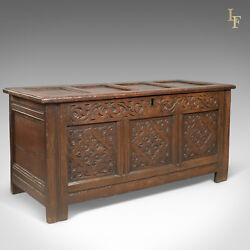 Carved Antique Coffer English Oak Joined Chest Trunk C.1700
