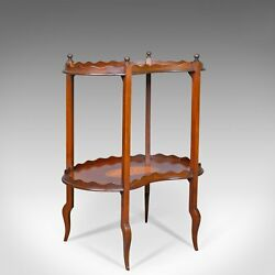 Antique Tea Table English Edwardian Two Tier Gallery Side Circa 1910