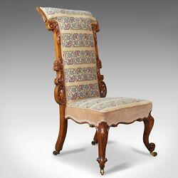 Antique Prie Dieu Chair Early Victorian Walnut Needlepoint Tapestry Seat C1840
