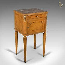 French Antique Bedside Cabinet Marble Top Nightstand C.1890