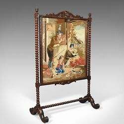 Large Antique Fire Screen Needlepoint Tapestry Panel Walnut Frame Circa 1850