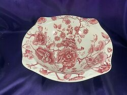 Johnson Brother English Chippendal Red/pink Round Vegetable Bowl 8 3/4