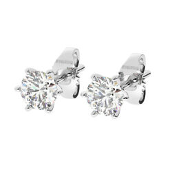 1.00ct Six Claw Set Round Brilliant Cut Diamond Stud Earring In 18k White Gold