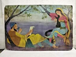 Old Vintage Handmade Indian Traditional King And Queen Cardboard Painting