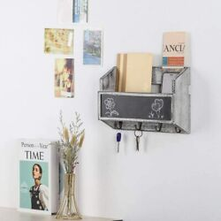 Wooden Wall Mount Mail Holder Organizer Mail Sorter With Key Hooks/chalkboard