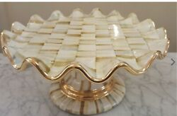 Mackenzie-childs Parchment Check Fluted Cake Stand - Nib