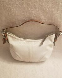 COACH Signature Ivory Canvas Leather small Hobo Bag 6351 $25.00