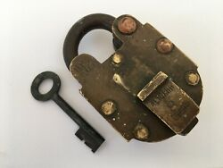 Lock Vintage Solid Brass Copper Padlock Trick Puzzle Lock With Key Push Button