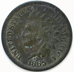 1865 Indian Head Bronze Penny One Cent 1c Us Very Fine Coin Dark