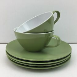 Vintage Texas Dallas Ware Green G-4 Plates And Cups Melmac Set Of 6