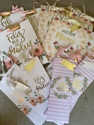 100 Mother's Day Gift Bags And Wine Bottle Spanish Assorted Bulk Lot Feliz Madre