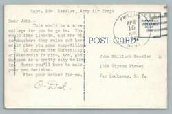 Edward Kessler Wwii Soldier Mail To Bro Cornhuskers V. University Of Wisconsin