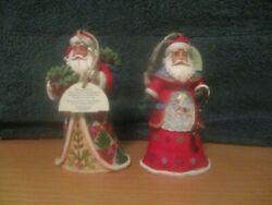 Jim Shore 4 1/2 Set Of 2 2018 Santa W/holly Bowl And W/reindeer Suit Ornaments