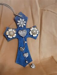 Small wooden cross for car or wall. Embellished with repurposed jewelry $7.95