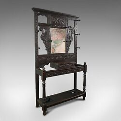 Tall Antique Hall Stand English Oak Mirror Coat Rack Chinoiserie Victorian
