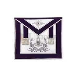 Masonic Past Master Hand Embroided Apron Gold/silver Andnbspembroidery Purple Velvet