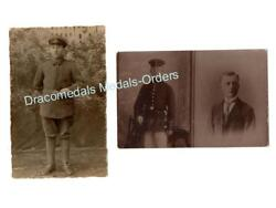 Germany Ww1 2 Photos Soldier Black Wound Badge Military Medal Photograph 1914 18