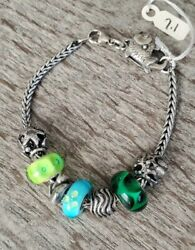 Authentic Trollbeads Bracelet Water Beach Summer Theme Glass And Sterling Beads