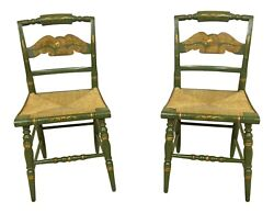 F51499ec Pair Hitchcock Green Paint Decorated Rush Seat Side Chairs