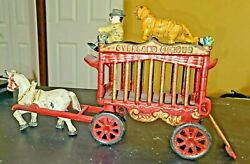 Kenton Iron Art Replica Overland Circus Cage Wagon Tiger And Driver Cast Iron Toy