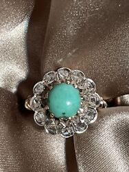 Victorian 1800's 14k Solid Gold Turquoise And Rose Cut Diamond Ring Sz 4.75