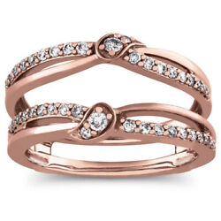 1/3 Carat Real Natural Diamond Prong Ring Guard Wrap In 14k Solid Rose Gold New